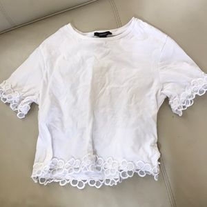 2x$20 White tee floral lace detail cotton small